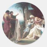 Hijo Fils de Bouguereau - de Jacob Recevant le Pegatina Redonda