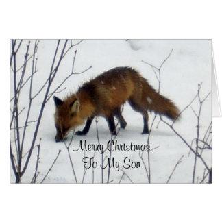Hijo-Fox de las Felices Navidad en nieve Tarjeta De Felicitación
