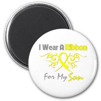 Hijo - llevo una ayuda amarilla de los militares imán redondo 5 cm
