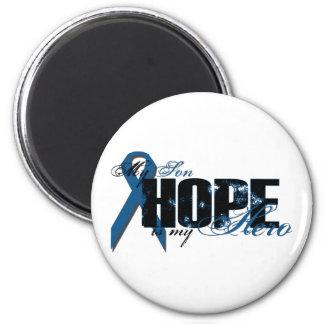 Hijo mi héroe - esperanza del cáncer de colon imán redondo 5 cm