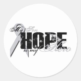 Hijo mi héroe - esperanza del pulmón etiquetas redondas