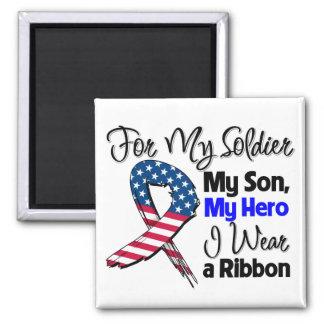 Hijo - mi soldado, mi cinta patriótica del héroe imán cuadrado