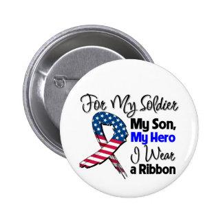 Hijo - mi soldado, mi cinta patriótica del héroe pin redondo 5 cm