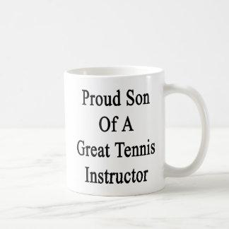 Hijo orgulloso de un gran instructor del tenis taza de café