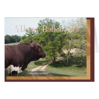 Hijo-personalizar del feliz cumpleaños tarjeta de felicitación