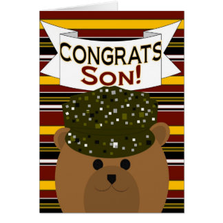 ¡Hijo - soldado Congrats del ejército! Tarjeta De Felicitación