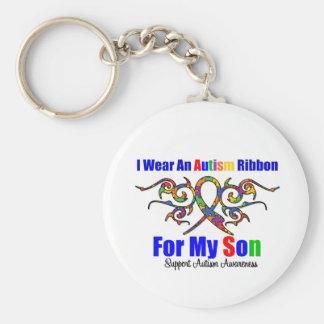 Hijo tribal de la cinta del autismo llavero redondo tipo pin