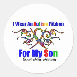 Hijo tribal de la cinta del autismo pegatinas redondas