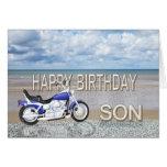 Hijo, una tarjeta de cumpleaños con una bici del m