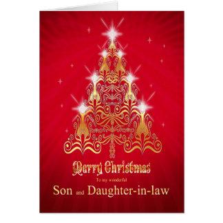 Hijo y nuera, tarjeta del árbol de navidad