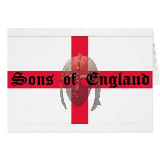 Hijos del casco del sajón del texto de Inglaterra Felicitación