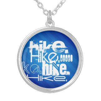 Hike; Royal Blue Stripes Round Pendant Necklace