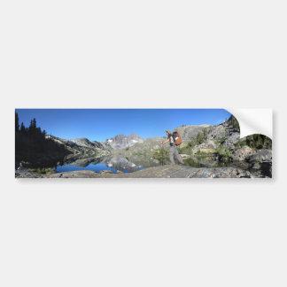 Hiker by Garnet Lake Banner Peak - John Muir Trail Bumper Sticker