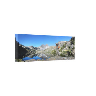 Hiker Garnet Lake and Banner Peak John Muir Trail Canvas Print