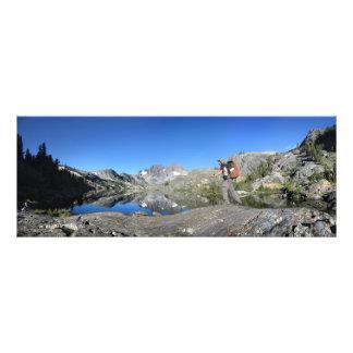 Hiker Garnet Lake and Banner Peak John Muir Trail Photo Print