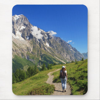 hiker in Ferret Valley, Italy Mouse Pad