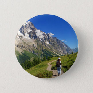 hiker in Ferret Valley, Italy Pinback Button