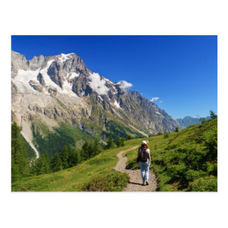 hiker in Ferret Valley, Italy Postcard