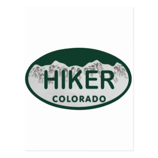 Hiker license oval postcard