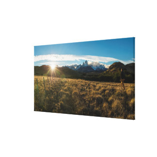 Hiker Looking At Fitz Roy Mountains, Patagonia Canvas Print