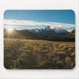 Hiker Looking At Fitz Roy Mountains, Patagonia Mouse Pad
