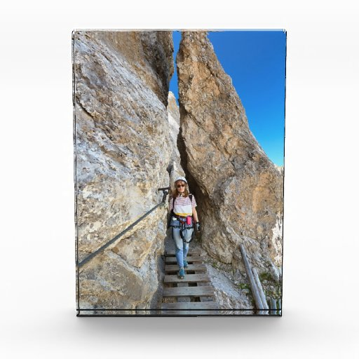 hiker on via ferrata acrylic award