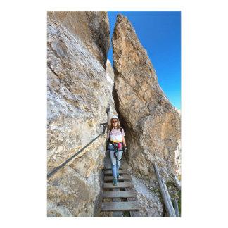 hiker on via ferrata custom stationery