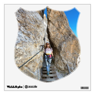 hiker on via ferrata wall decal