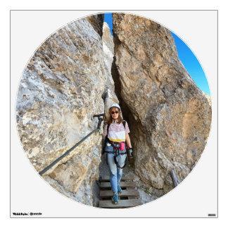 hiker on via ferrata wall sticker
