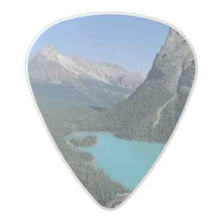 Hiker overlooking turquoise-colored Lake Acetal Guitar Pick