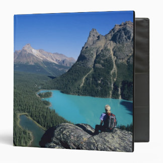 Hiker overlooking turquoise-colored Lake Binder