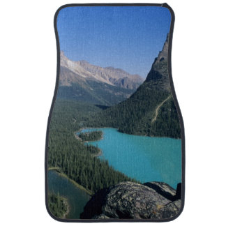 Hiker overlooking turquoise-colored Lake Car Floor Mat