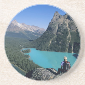 Hiker overlooking turquoise-colored Lake Coaster
