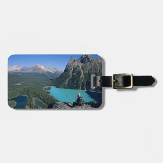 Hiker overlooking turquoise-colored Lake Luggage Tag