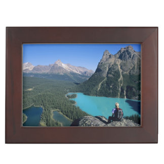 Hiker overlooking turquoise-colored Lake Memory Box