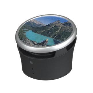 Hiker overlooking turquoise-colored Lake Speaker