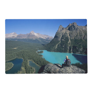 Hiker overlooking turquoise-colored Lake Placemat
