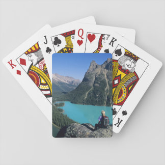 Hiker overlooking turquoise-colored Lake Playing Cards