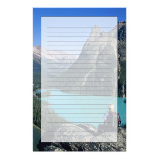 Hiker overlooking turquoise-colored Lake Stationery