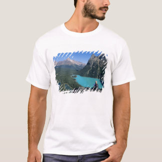 Hiker overlooking turquoise-colored Lake T-Shirt