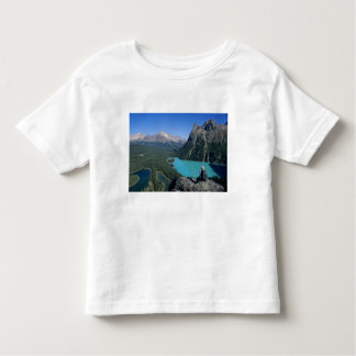 Hiker overlooking turquoise-colored Lake Toddler T-shirt