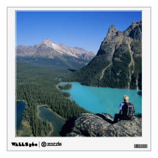 Hiker overlooking turquoise-colored Lake Wall Sticker