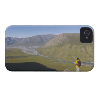 Hiker pausing to admire hill scenery iPhone 4 Case-Mate case