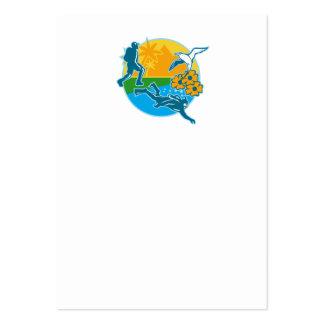 Hiker Scuba Diver Island Tropicbird Flowers Retro Business Cards