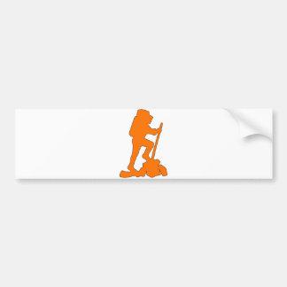 Hiker Silhouette Emblem Graphic Design Backpacker Bumper Sticker