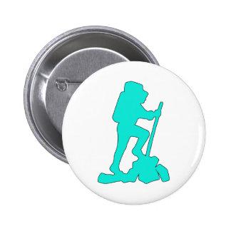 Hiker Silhouette Emblem Graphic Design Backpacker Button