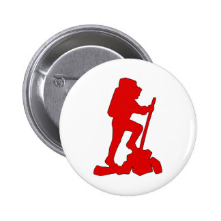 Hiker Silhouette Emblem Graphic Design Backpacker Pinback Button