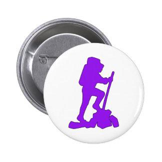 Hiker Silhouette Emblem Graphic Design Backpacker Pin