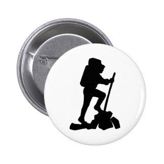 Hiker Silhouette Emblem Graphic Design Backpacker Buttons