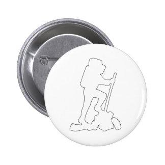 Hiker Silhouette Emblem Graphic Design Backpacker Pinback Buttons
